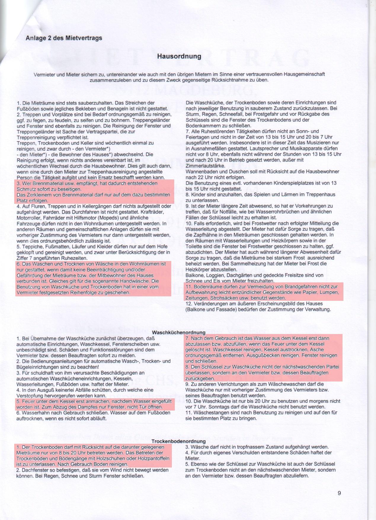 Hausordnung 2012 markiert
