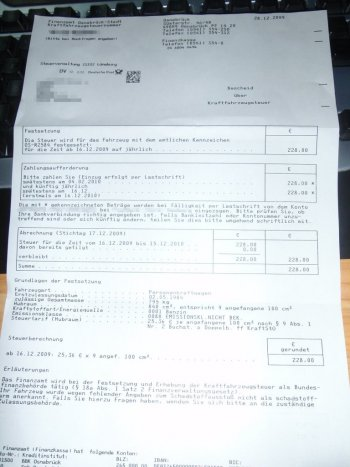 KfZ-Steuerbescheid Reliant Rialto