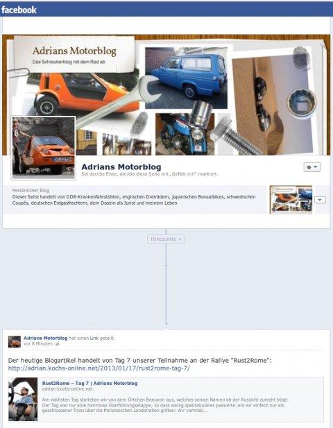 Adrians Motorblog bei Facebook